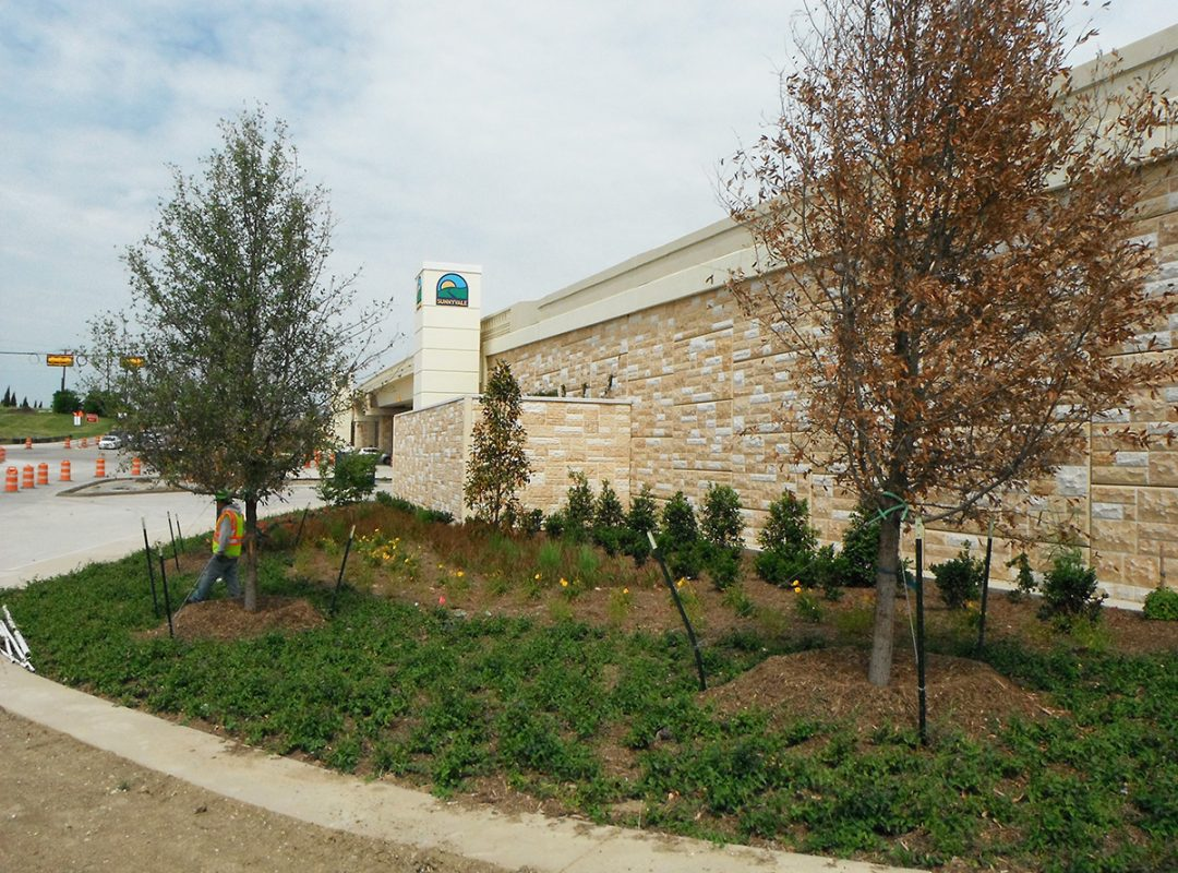 commercial landscaping, flowerbeds, planting circles, borders, irrigation, stonework
